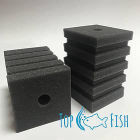 Фильтрующая губка TopFish 8х8х12см. прямоугольная, с горизонтальной, широкой, не глубокой прорезью