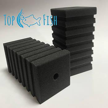 Фильтрующая губка TopFish прямоугольная с горизонтальной, широкой, не глубокой прорезью, 10х10х20см