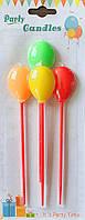 Свечи в торт на палочках в виде разноцветных шариков 4 шт