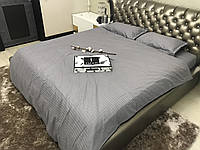Евро комплект постельного белья Страйп-Сатин (100% хлопок) Постільна білизна