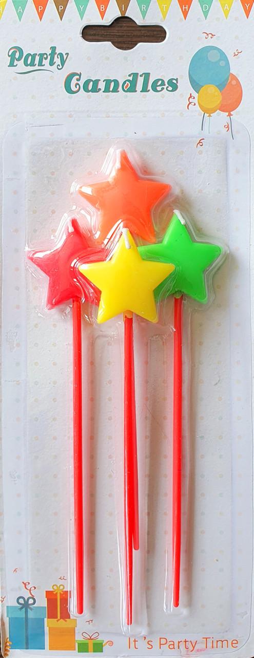 Свечи в торт на палочках в виде разноцветных звезд 4 шт
