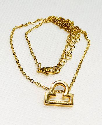 Колье Primo с подвеской знак зодиака Libra (Весы) - Gold