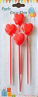 Свечи в торт на палочках в виде красных сердец 4 шт