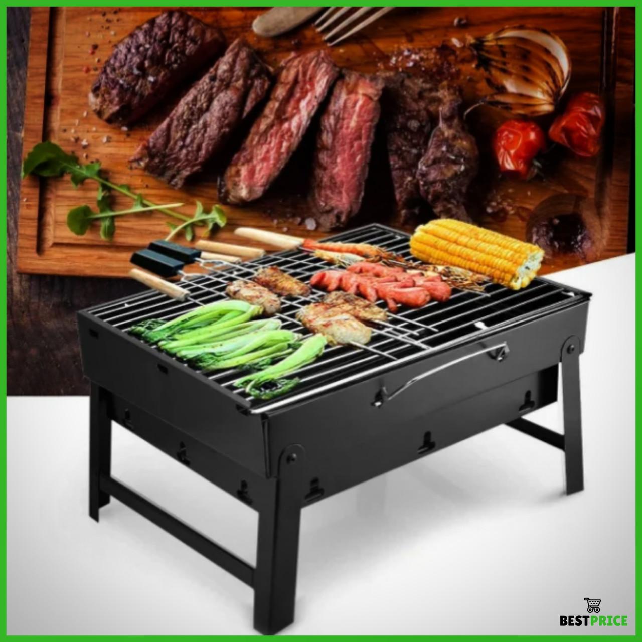 Складной барбекю гриль портативный мангал BBQ Grill Portable - жаропрочный Лучшая цена!
