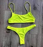 Женский яркий купальник неоновый с топом размер - розовый и салатовый, фото 4