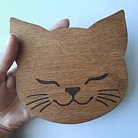 Деревянный декор Подложка для повязок бантиков Котик Крашеный 14 см