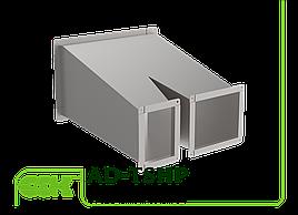Тройник асимметричный штанообразный с переменным сечением для прямоугольного воздуховода AD-TSHP