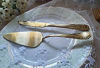 "Набор нож и лопатка для торта ""Ирис"", цвет: ЗОЛОТО"