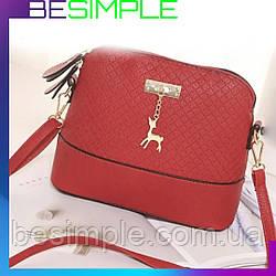 Женская сумка клатч Бэмби / Бемби красная