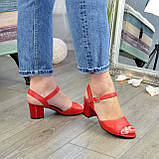 Босоножки кожаные женские на устойчивом каблуке, цвет красный, фото 3