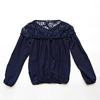 Блузка с длинным рукавом р.122,128,134,140,146,152 SmileTime Susie с гипюром, синяя