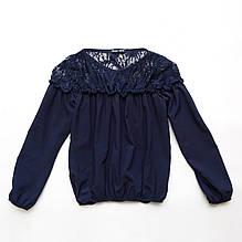 Блузка для дівчинки з довгим рукавом SmileTime Susie з гіпюром, синя