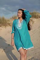 Туника пляжная женская короткая со шнуровкой и вышивкой, голубая, фото 1