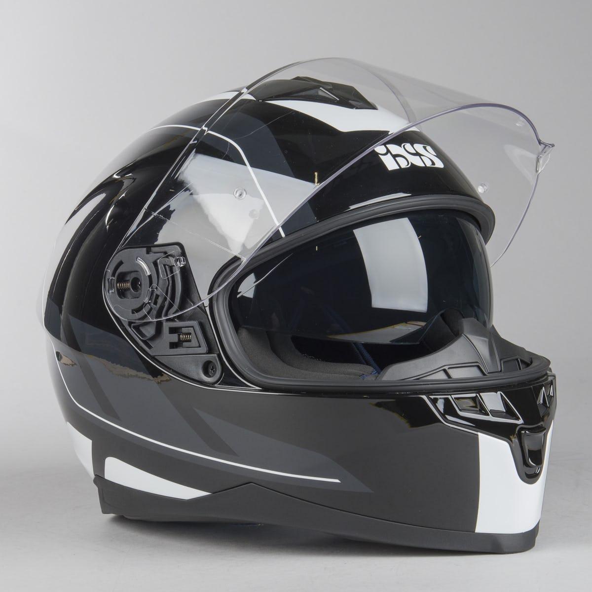 Шлем интеграл IXS HX 1100 2.0 Black Grey White  Глянец