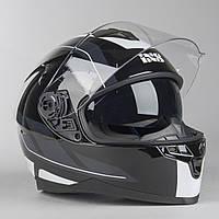 Шлем интеграл IXS HX 1100 2.0 Black Grey White  Глянец, фото 1
