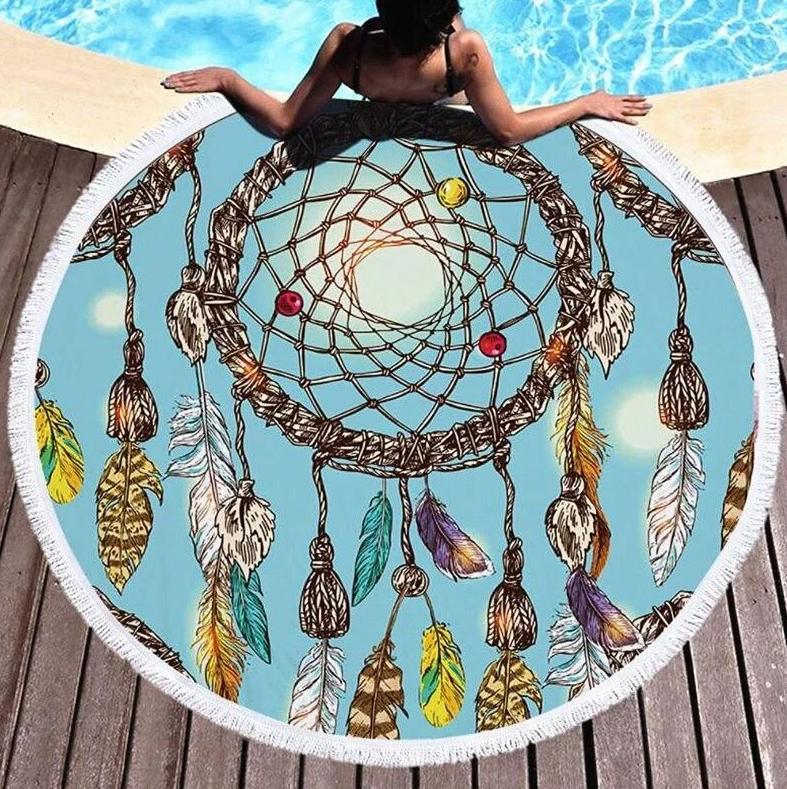 Круглое пляжная подстилка  покрывало с бахрамой, 150 см