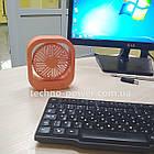 Настольный мини вентилятор портативный DianDi Square. Вентилятор аккумуляторный 2 скорости, фото 2