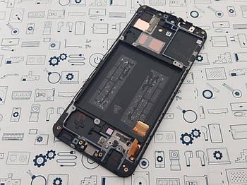 Дисплей Samsung A40 A405F модуль черный Сервисный оригинал с разборки