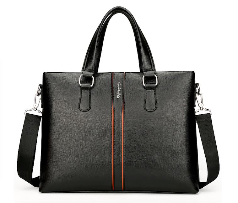 Мужская сумка для документов ноутбука Fedika Bolo кожаная Черная