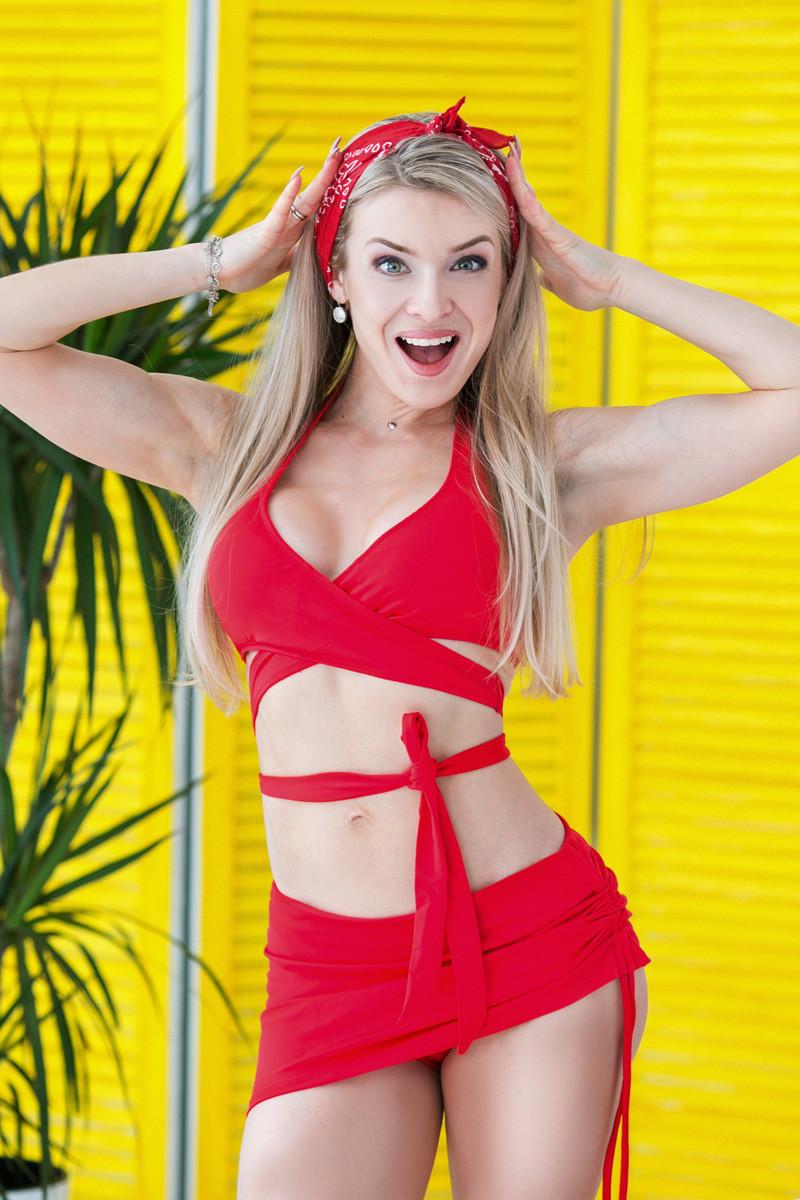 Раздельный купальник с юбкой Totalfit KR5-C4 XS Красный