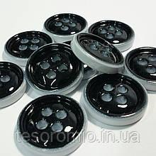 Пуговица пластиковая, 2 см диаметр, цвет черно-белый.