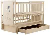 Детская кроватка Дубик-М Мишка Бук, шухляда, маятник, откидная боковина, Слоновая кость