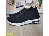 Кросівки чорні текстильні з компенсатором на амортизаторах легкі біла підошва 36, 37 р. (2218), фото 2