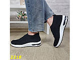 Кросівки чорні текстильні з компенсатором на амортизаторах легкі біла підошва 36, 37 р. (2218), фото 8