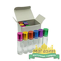 Флакон стеклянный (8мл, 12шт), ассорти цвета, для масляных духов, тара для парфюма