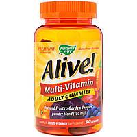 Мультивитаминный комплекс для взрослых Natures Way Alive!  со вкусом вишни винограда и апельсина 90