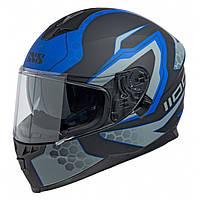 Шлем интеграл IXS 1100 2.2 Full Face Helmet  Black-Blue Matte Мат