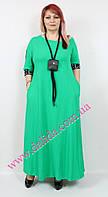 Нарядное изумрудно-зеленое платье батал Darkwin, фото 1