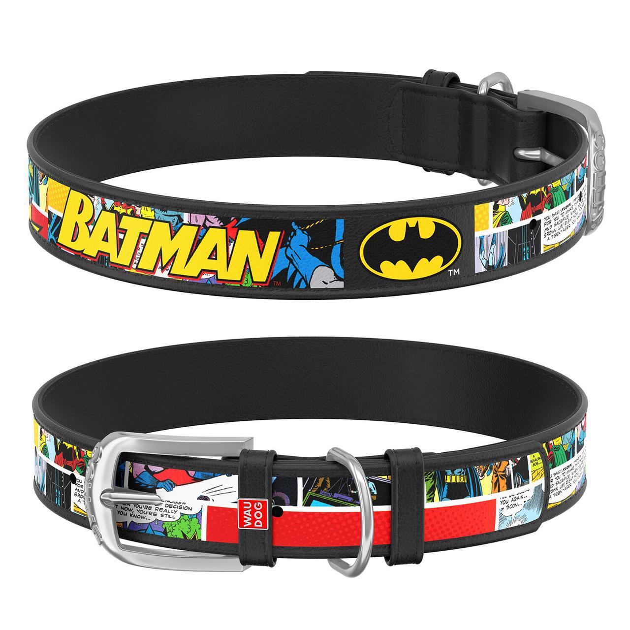"""Ошейник WAUDOG Design с рисунком """"Бэтмен1"""", металлическая пряжка, 25 мм, 38-49 см Черный"""