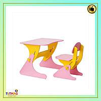 Детский столик и стульчик розово-желтый SportBaby для детей от 3 лет