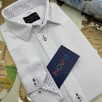 Рубашка детская белая c отделкой. INGVAR