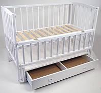 Детская кроватка Babymax Magia Бук, шухляда, маятник, откидная боковина, Белая