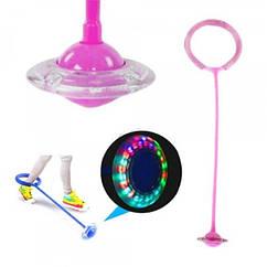 Детская светящаяся скакалка на ногу (Нейроскакалка) c LED подсветкой  Розовая