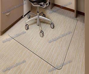 Ковер под кресло для защиты пола прозрачный 125х125см. Толщина 1,5мм