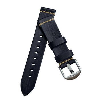 Шкіряний ремінець Primolux C052B Steel buckle для годин Samsung Galaxy Watch 46mm (SM-R800) - Black