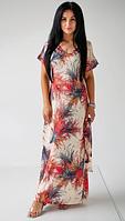 Летнее платье в пол свободного кроя из шелка Армани с ярким принтом .  Размеры 42-44,46-48,50-52