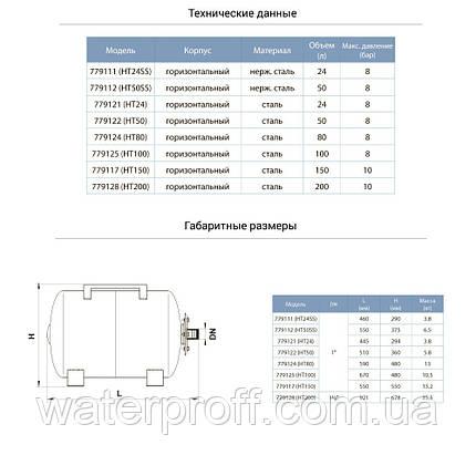 Гидроаккумулятор горизонтальный 150л AQUATICA (779117), фото 2