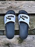Мужские сланцы в стиле Puma white/black, фото 5