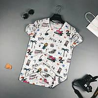 Мужская стильная футболка (с принтами) светлая
