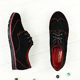 Туфли женские черные замшевые на шнуровке, низкий ход, фото 2