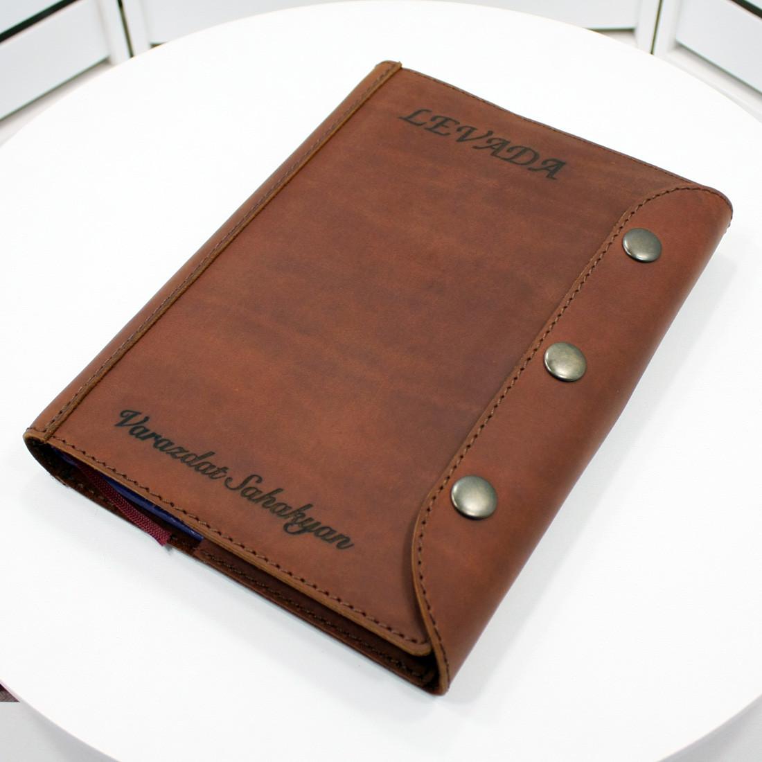 Кожаный ежедневник А5(М). Лазерная гравировка изображений под заказ