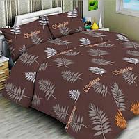 Комплект постельного белья ранфорс Marcel 20-121 коричневый Пальмовые веточки Полуторный комплект