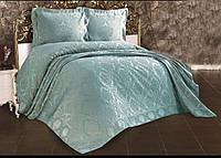 Покрывало жаккардовое с наволочками ZERON Sonil Venus Blue 240x260 см Голубой 1005452, КОД: 1659305