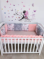 Бортики подушки в детскую кроватку «Пион»