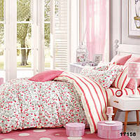 Постельное белье Viluta Ранфорс 17158 Семейный Розовый с белым 1005247, КОД: 1659440