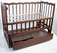 Детская кроватка Babymax Хвилька Кроватка + Маятник + Ящик, Бук, Орех